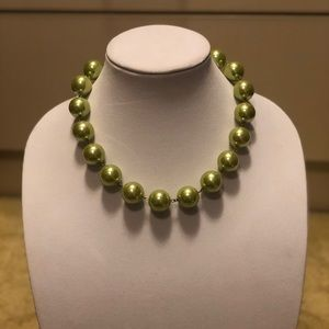Lime Green large bead necklace